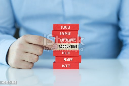 istock Accounting Concept with Related Keywords on Wooden Blocks 638754986