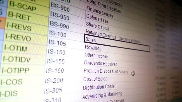 buchhaltung datenverarbeitung in excel-tabelle, finanzen bericht vertriebsmanagement - tabellenkalkulation stock-fotos und bilder