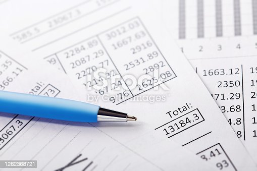 490632340 istock photo Accounting document with pen and checking financial chart. Concept of banking, financial report and financial audit. 1262368721