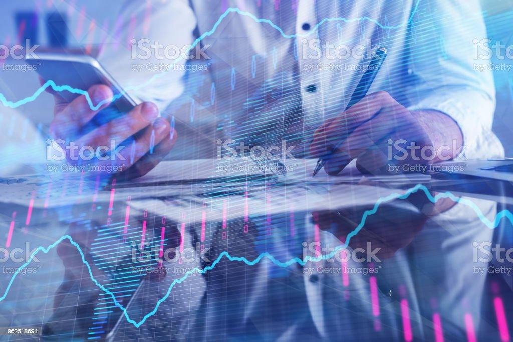 Contabilidade, finanças e comércio conceito - Foto de stock de Adulto royalty-free