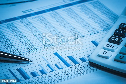 istock Accounting financial papers analysis with charts 513811682