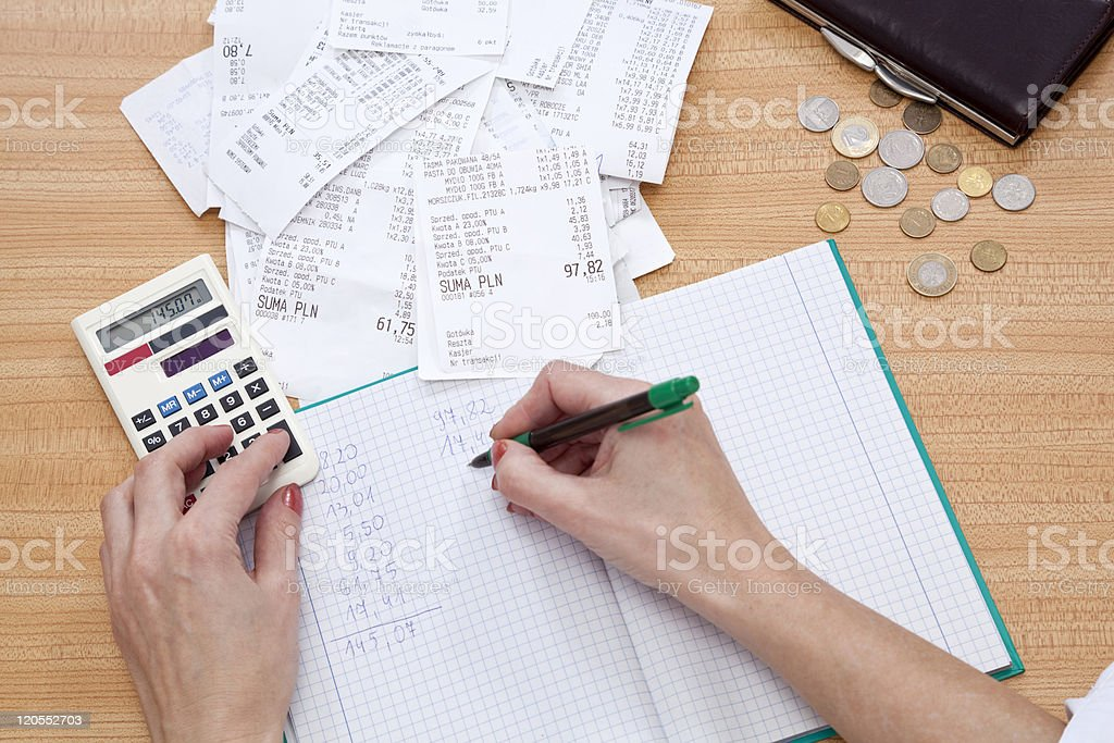 Accounting flat lay with calculator, money and receipts stock photo