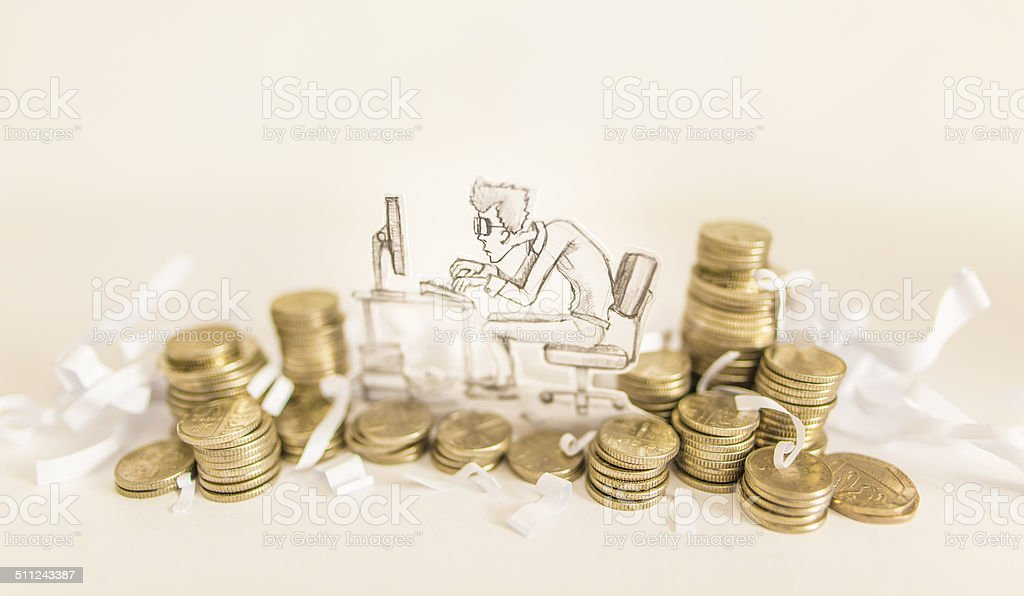 accounting gold coins stock photo