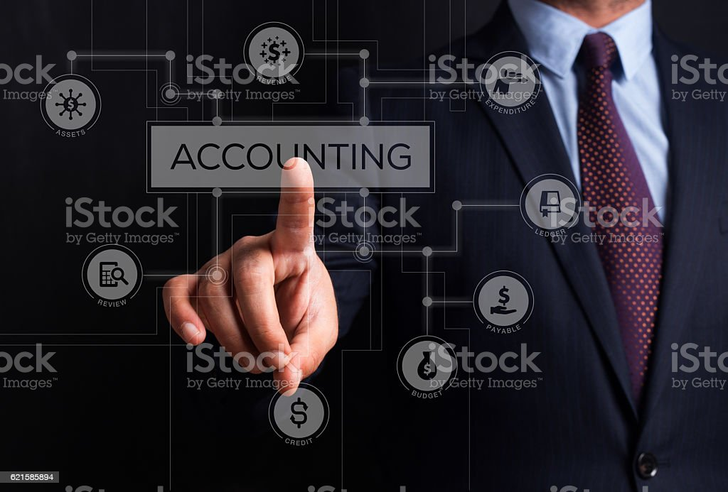 Accounting keywords and icons on interface touch screen stock photo