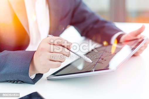 istock Accounting on a tablet computer, close-up 866364834