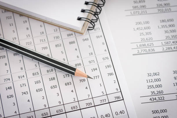 accounting report Balance sheet ,pencil, notebooks on accountant's desk. Accounting , accounts ,audit, internal audit, concept. accounting ledger stock pictures, royalty-free photos & images