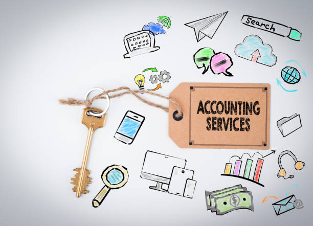 Accounting Services. Key on a white background stock photo