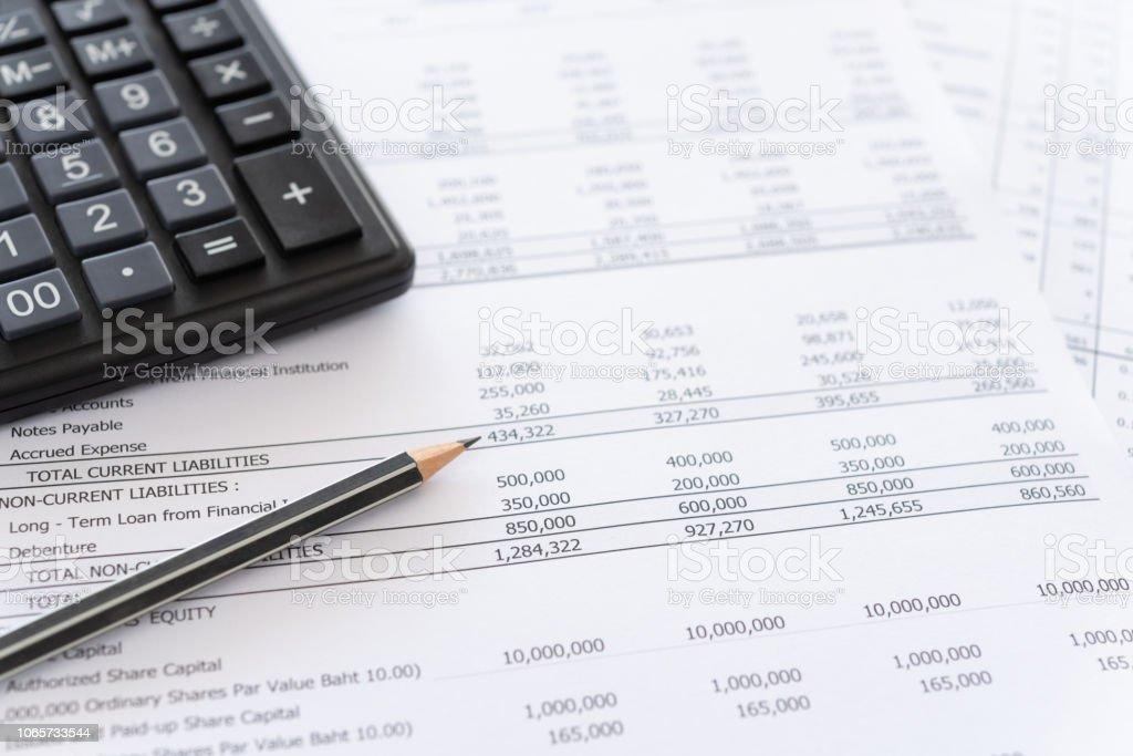 accounting spread sheets stock photo