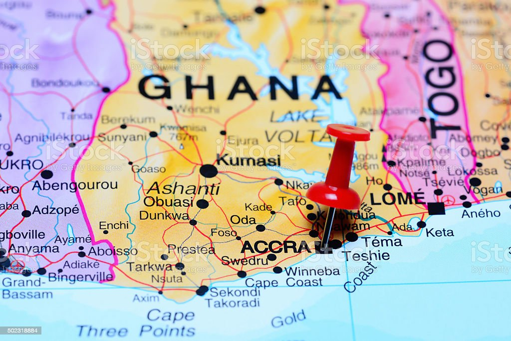 Accra pinned on a map of Africa stock photo