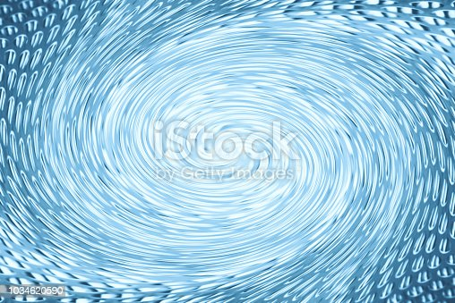 istock Accumulation of blue clean energy in form of vortex funnel in center of shot. Fantastic background image of asymmetric wormhole. 1034620590