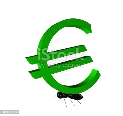 Ant carrying the euro symbol