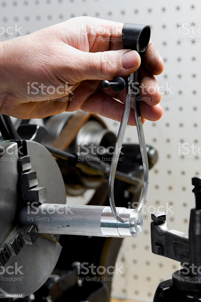 Accuracy - Lathe in home workshop stock photo