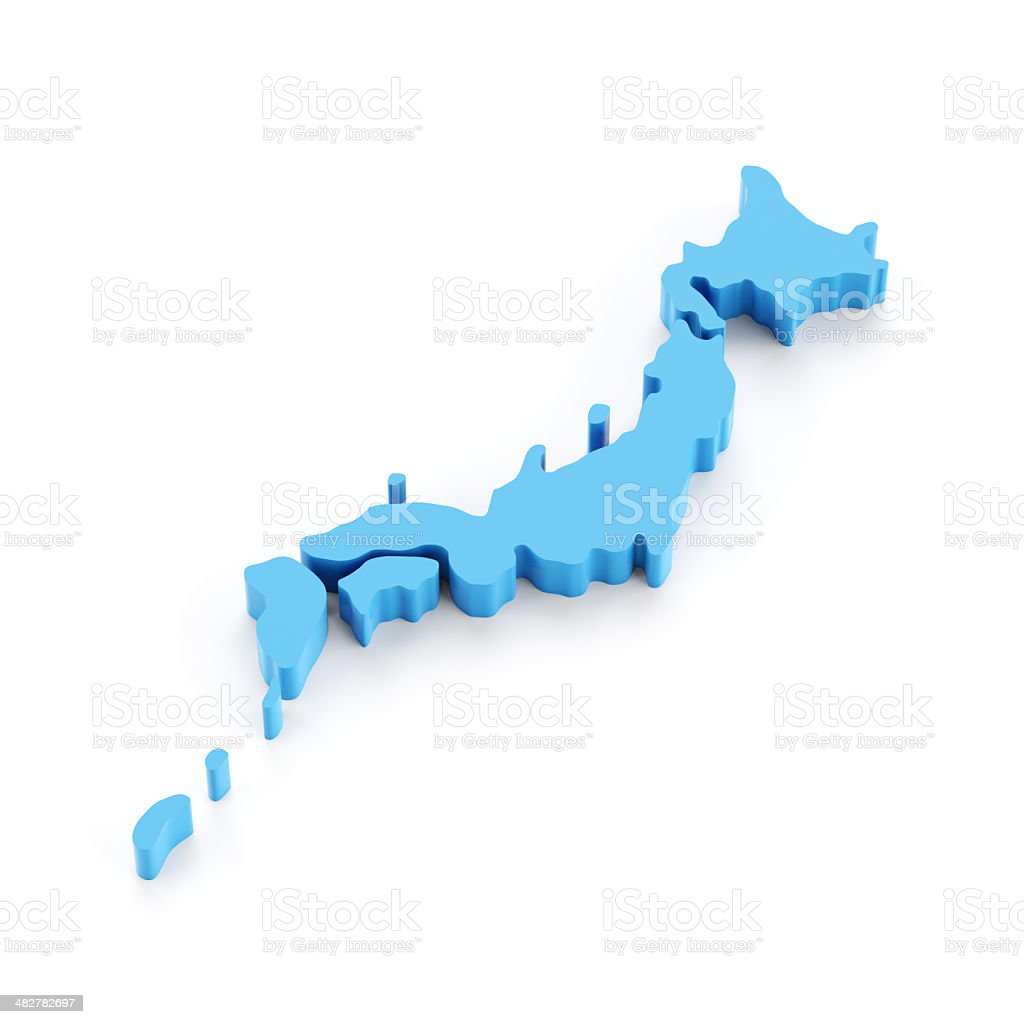 Accurate 3d map of Japan isolated on white royalty-free stock photo