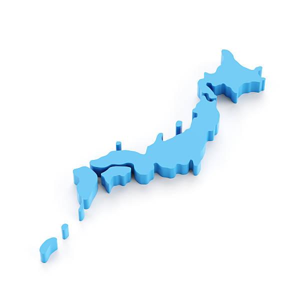 正確な 3 d マップ日本の白で分離 - 日本 地図 ストックフォトと画像