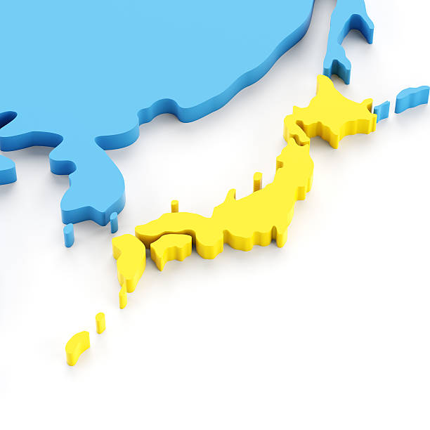 正確な日本の 3 d マップ - 日本 地図 ストックフォトと画像