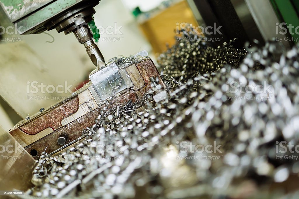 Accurate metal boring stock photo