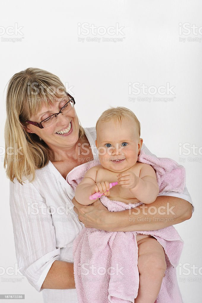 Accustoming children to dental hygeine at an early age royalty-free stock photo