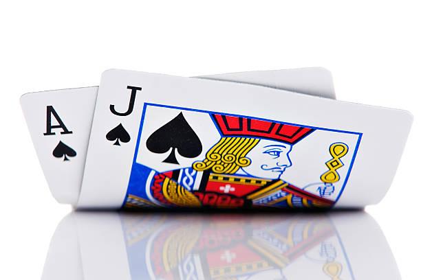 ace and jack of spades on white background - black jack bildbanksfoton och bilder