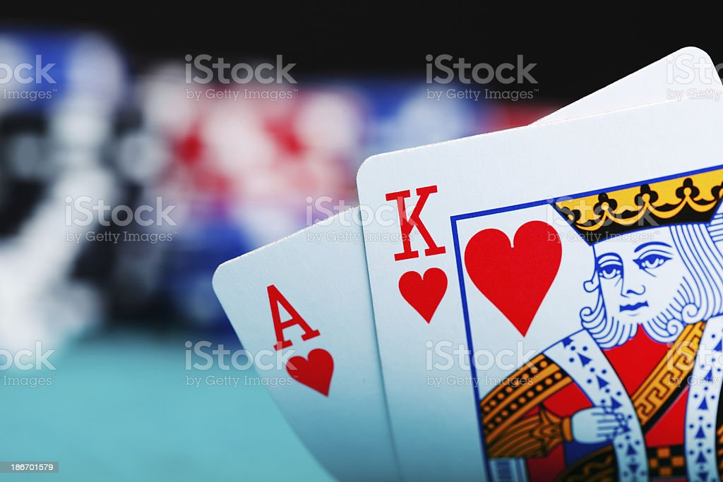 Ace and king with gambling chips stock photo