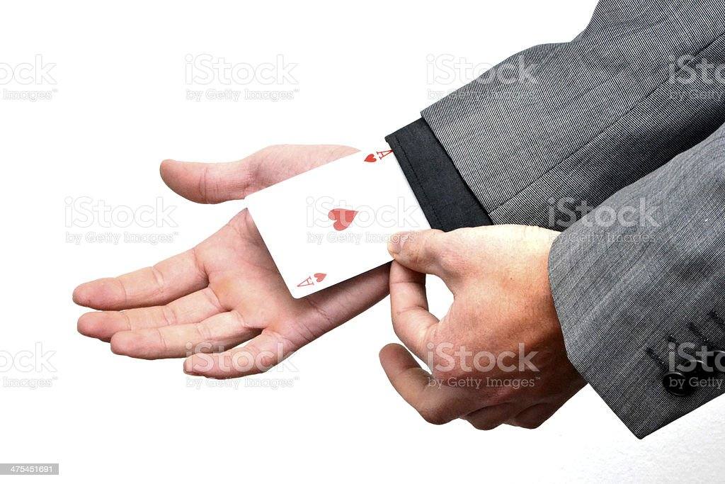 Ace card held by business man stock photo