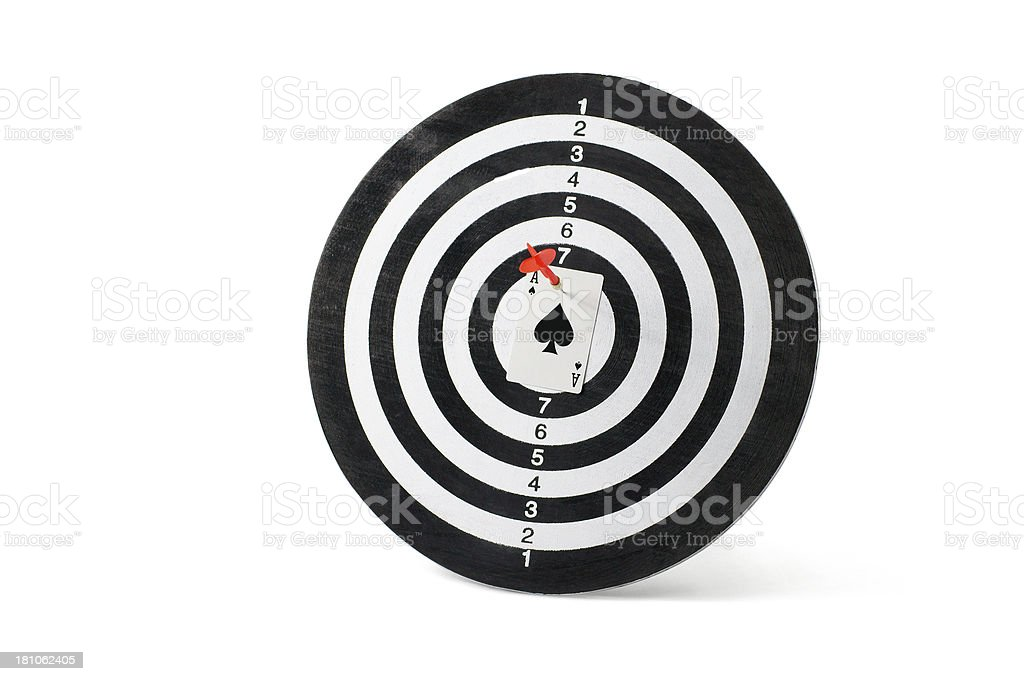 Ace Card on Dartboard royalty-free stock photo