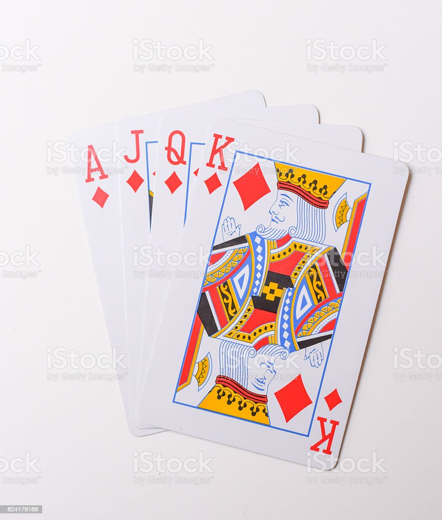 Ace, Jack, Queen and King of Diamonds Fanned Out stock photo