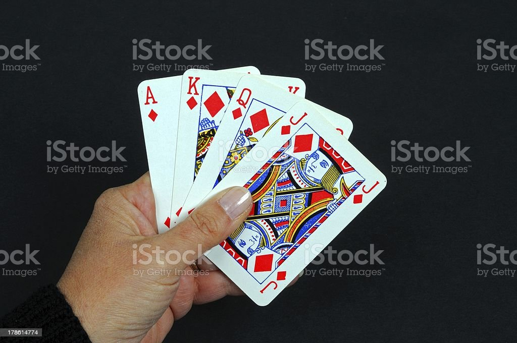 Ace, King, Queen and Jack of diamonds. stock photo
