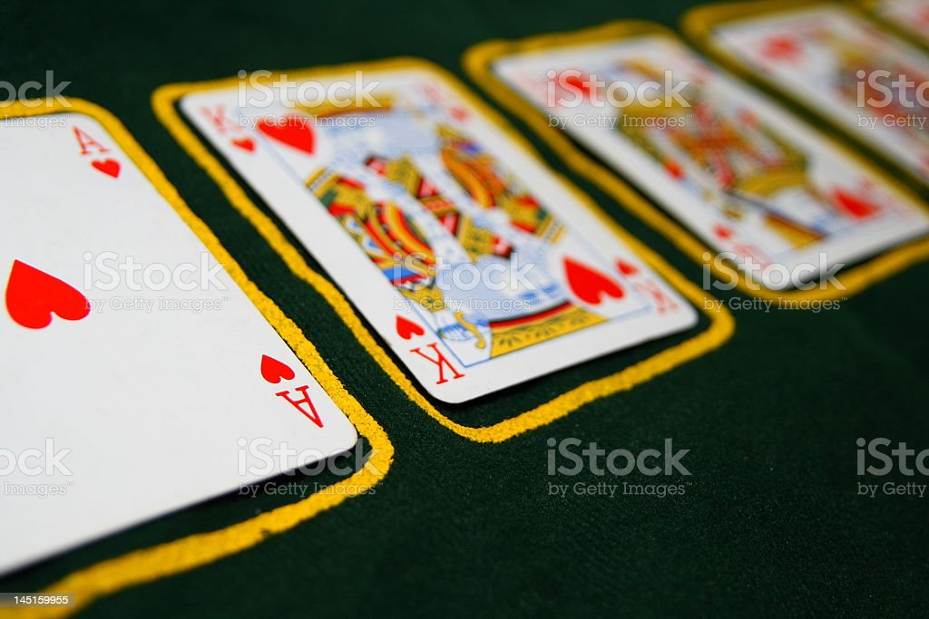 Ace King Queen of hearts stock photo