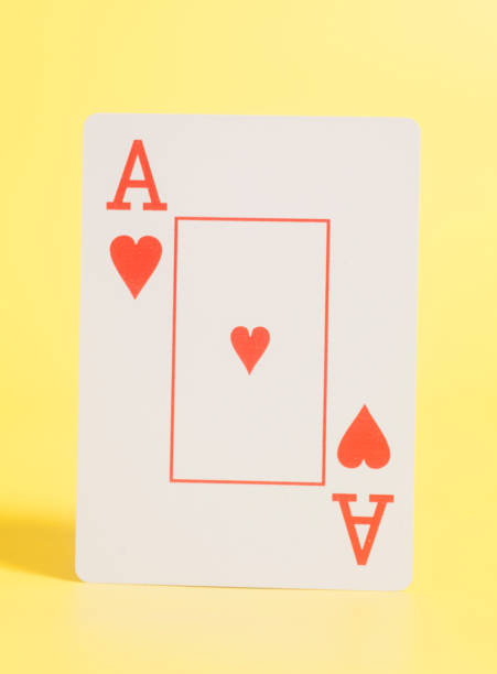 Ace of Heart Playing card on yellow background – zdjęcie