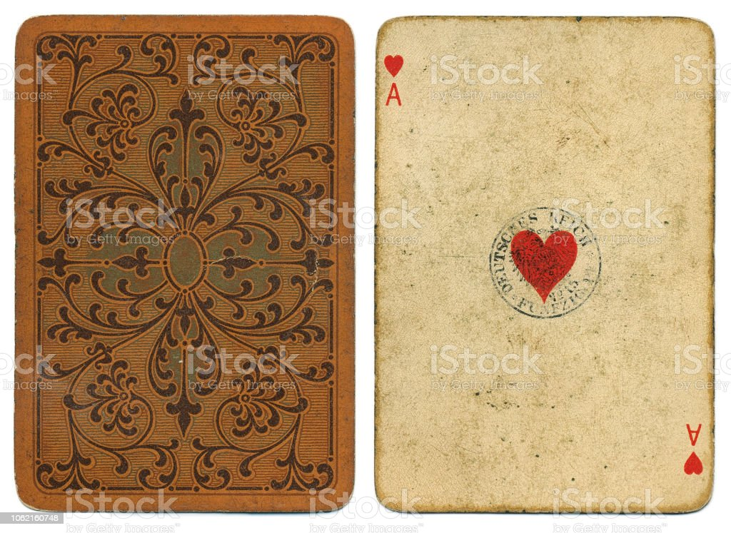 As de cœur antique carte usé par Dondorf vers 1900 - Photo