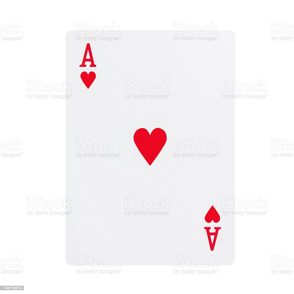 Ace of hearts playing card. stock photo