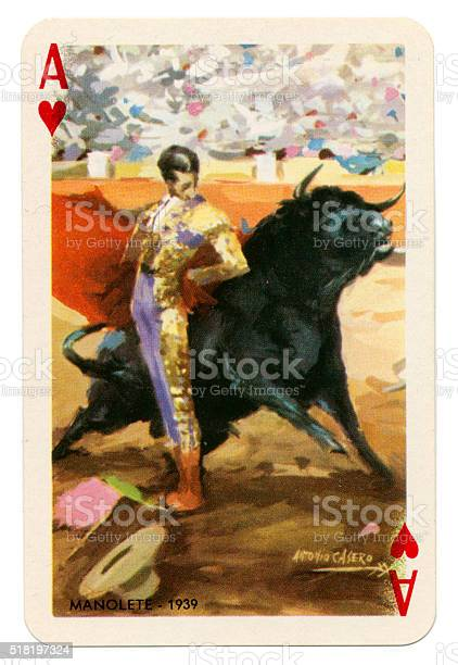 Baraja Taurina bullfighter Ace of Hearts 1965