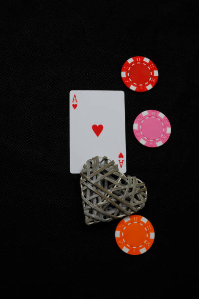 Ace of hearts with heart and poker dice stock photo