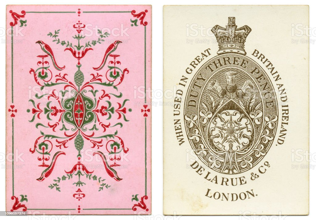 Ace of spades 19th century by de la Rue pink geometric design stock photo