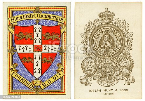 Ace of spades manufactures by Joseph Hunt & Sons of London in around 1875. This  ace of spades design is based on Old Frizzle, a much-copied early design. The back design shows the coat of arms for the University of Cambridge with the words Alma Mater Cantabrigia, Founded AD 915.