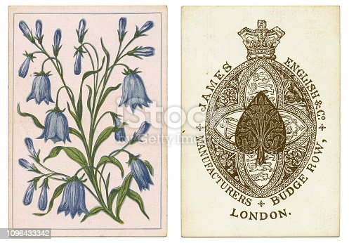 Ace of spades manufactures by James English & Co Manufacturers, Budge Row, London, around 1875. This  ace of spades design is loosely based on Old Frizzle, a much-copied early design. The pretty back design shows blue harebell flowers on a pink background.
