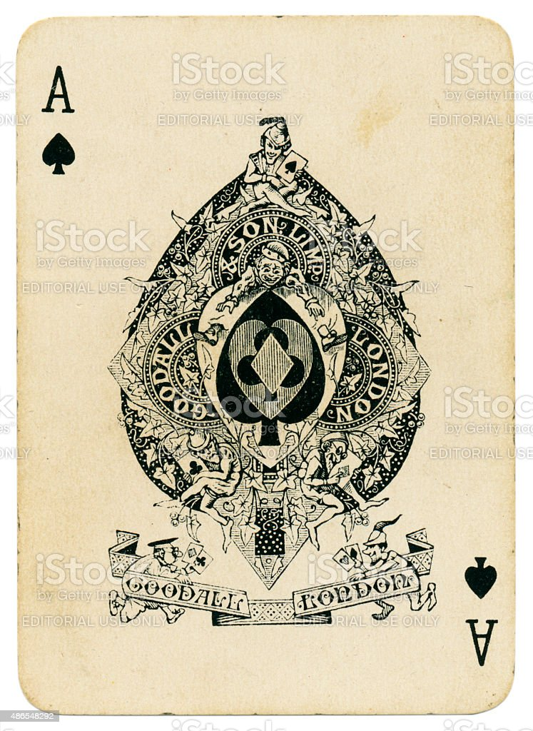 Playing card Ace of Spades from coronation 1902 pack stock photo
