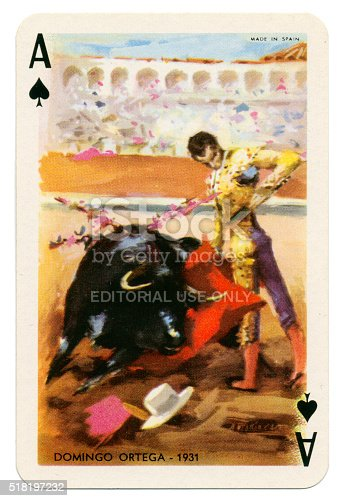 Ace of Spades Spanish playing card from the Baraja Taurina manufactured by Heraclio Fournier of Vitoria (near Bilbao) in Spain in 1965, glorifying Spanish bullfighters. The artist is Antonio Casero. The Ace of Spades features the bullfighter Domingo Ortege in 1931. These cards are in new condition, with an accompanying leaflet. The four of clubs bears the legend 'Timbre sobre naipes', which translates to 'Stamp duty on cards'. Each card bears the name of the illustrated bullfighter along with an associated date.