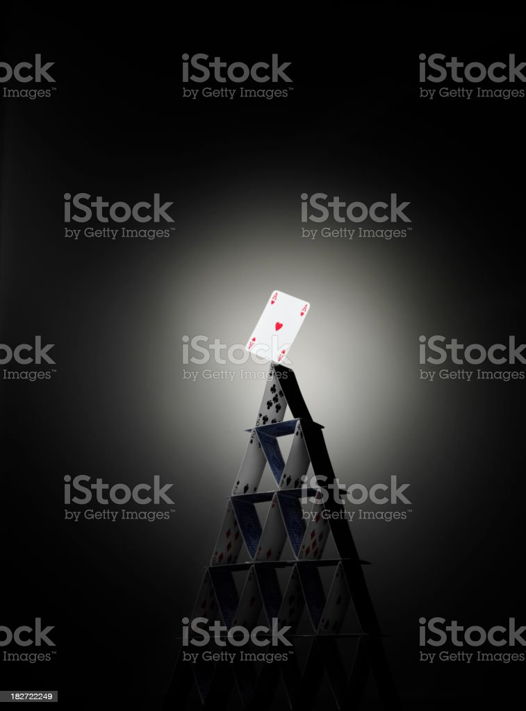 Ace on a House of Cards stock photo
