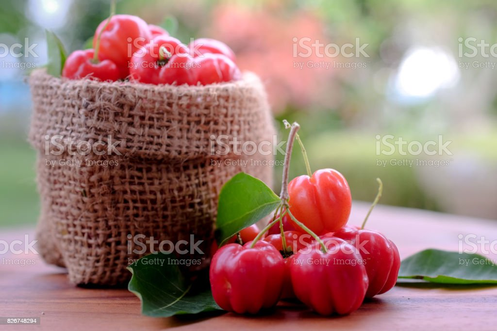 Acerola fruit close up on background stock photo