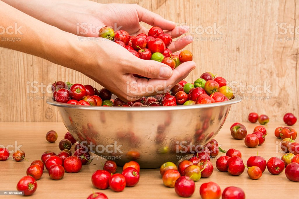 Acerolas, tropical fruits red stock photo