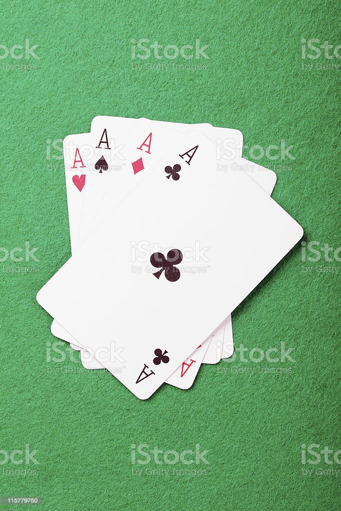 Aces cards above view stock photo
