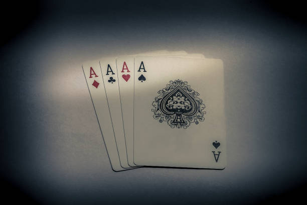 4 aces playing cards stock photo