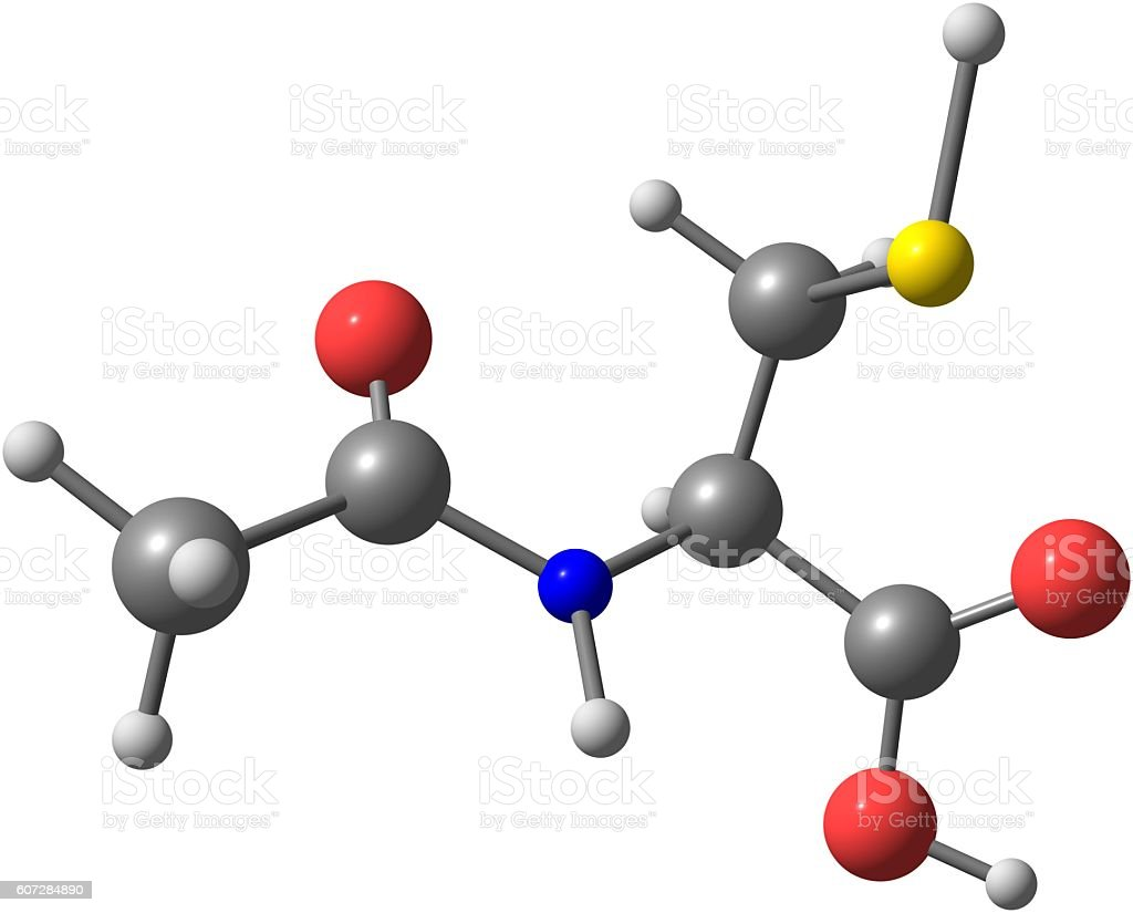 Acetylcysteine molecular structure isolated on white stock photo