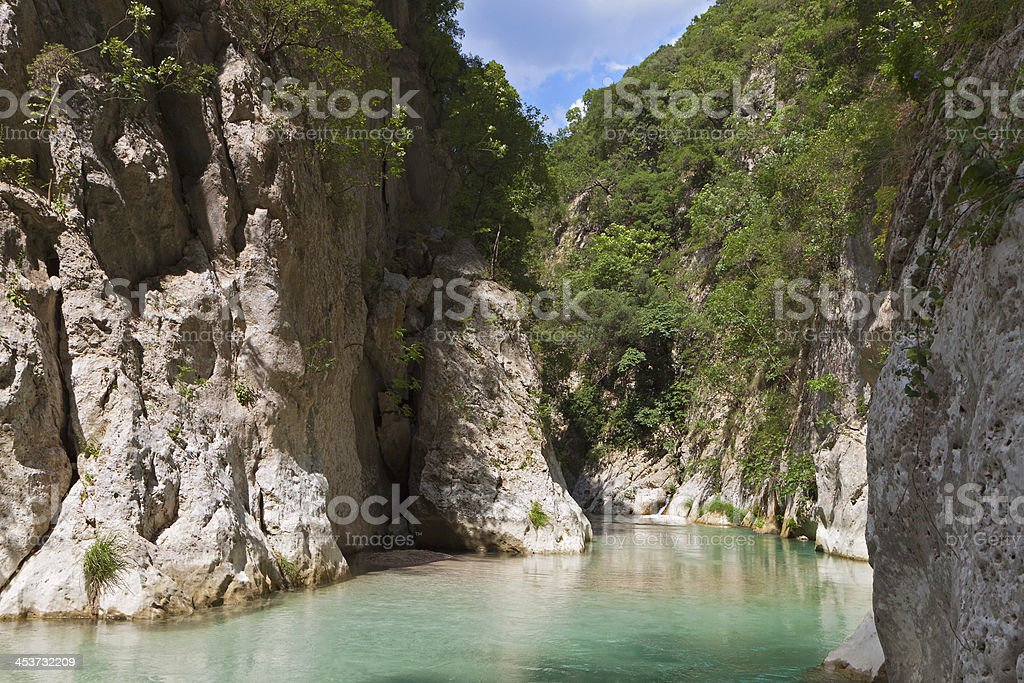 Acherontas river springs gorge in Greece stock photo