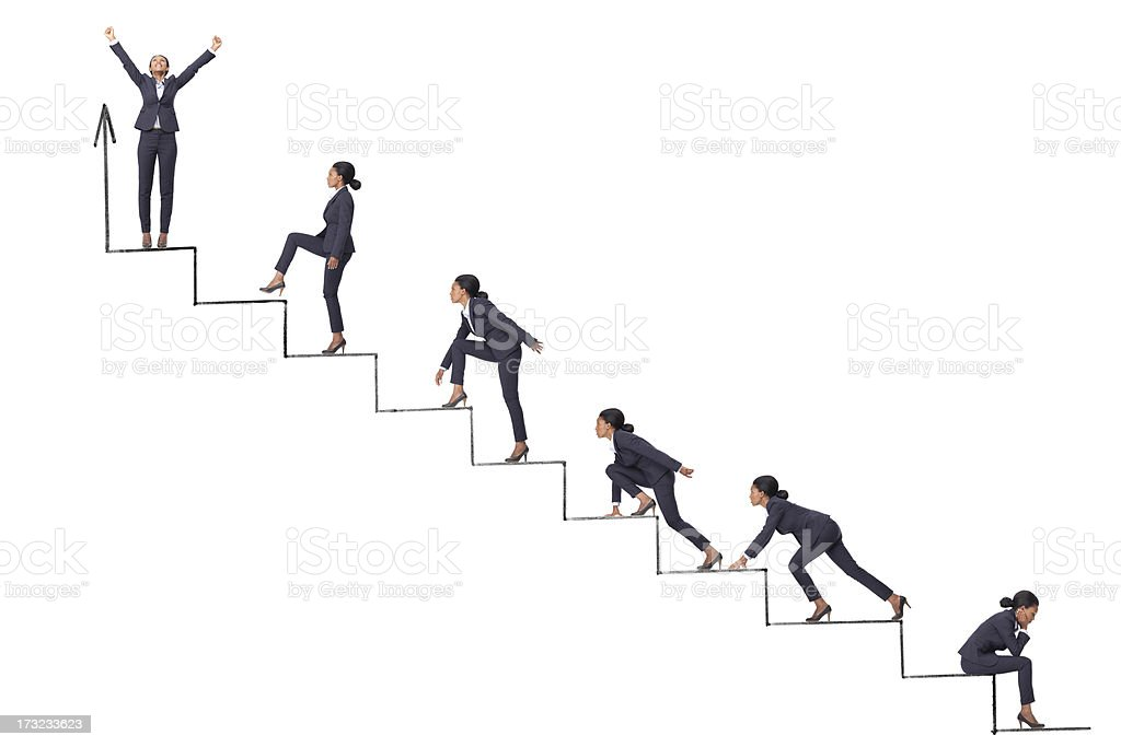 Achievement and success Business woman running and climbing the steps of raising finance graph. Achievement Stock Photo
