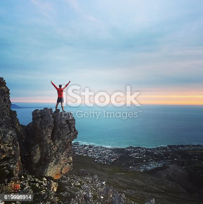 istock Achievement - male standing on a mountain top 619996914