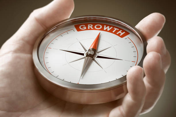 Achieving a Growth Mindset in Business. Economics Concept. stock photo