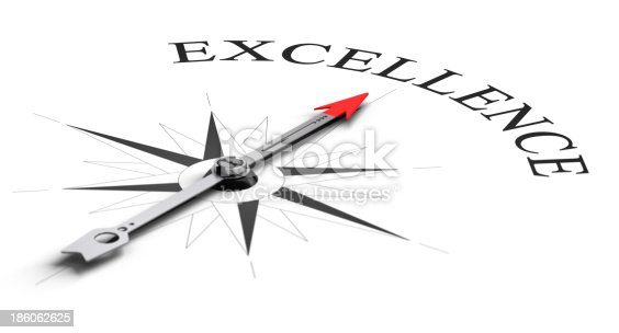 Compass concept with the needle pointing a word. Conceptual image over white for achieving competitive excellence