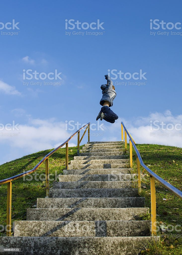 Achieving Target On High Outdoor Stairs stock photo